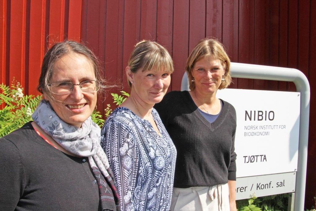 Forskerne Ievina Sturite, f.v., Grete H. Meisfjord Jørgensen og Vibeke Lind er engasjert i internasjonal klimaforskning.