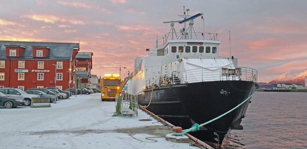 """""""Haarek"""" ved kai i Sandnessjøen etter at Boreal mistet ferjeanbudet på Vefsnfjorden."""